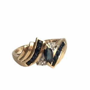 Vintage 10K Gold Sapphire & Diamond Ring Marquise